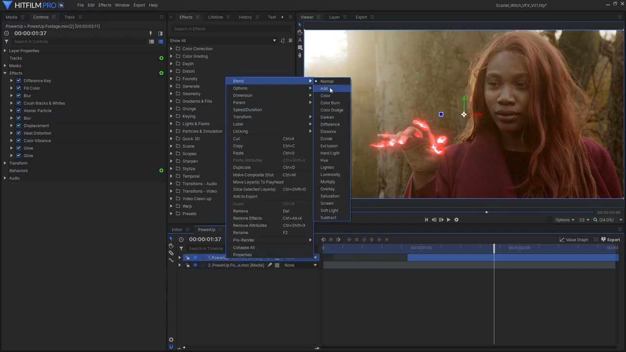 Using difference key for magic effects in HitFilm Pro