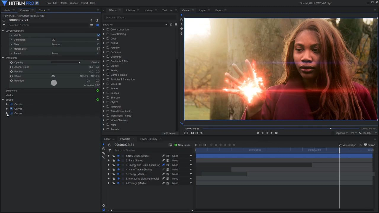 Adding flares to magic effects in HitFilm Pro