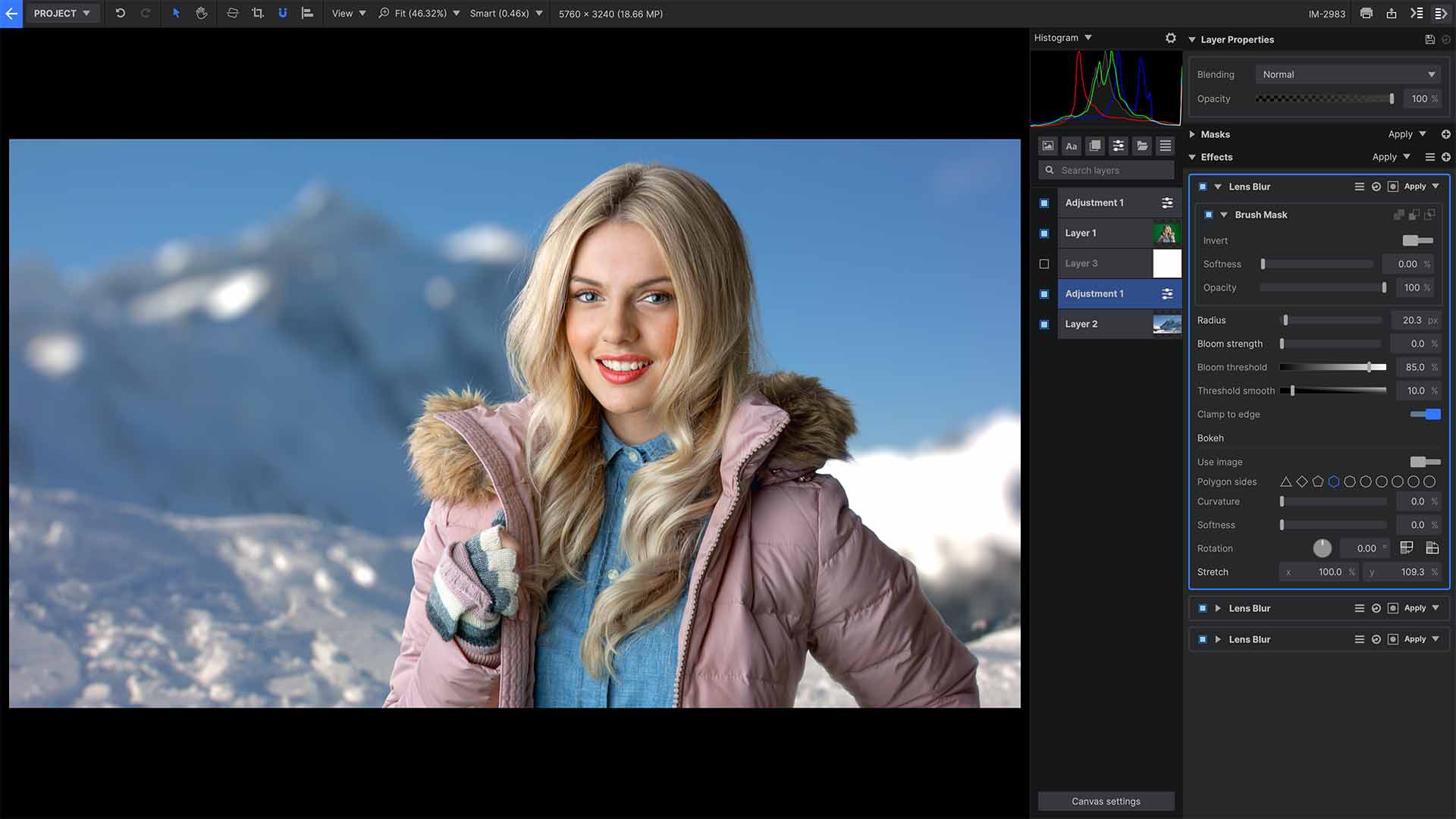 Lens Blur effect in Imerge Pro 2021 interface