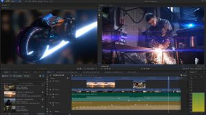 HitFilm Pro 16 interface with custom light flares and physically-based-rendering