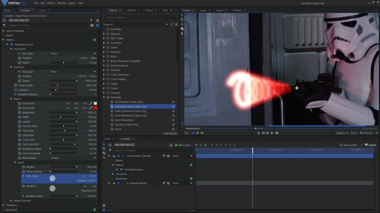 how to create futuristic scifi laser effects HitFilm Pro interface