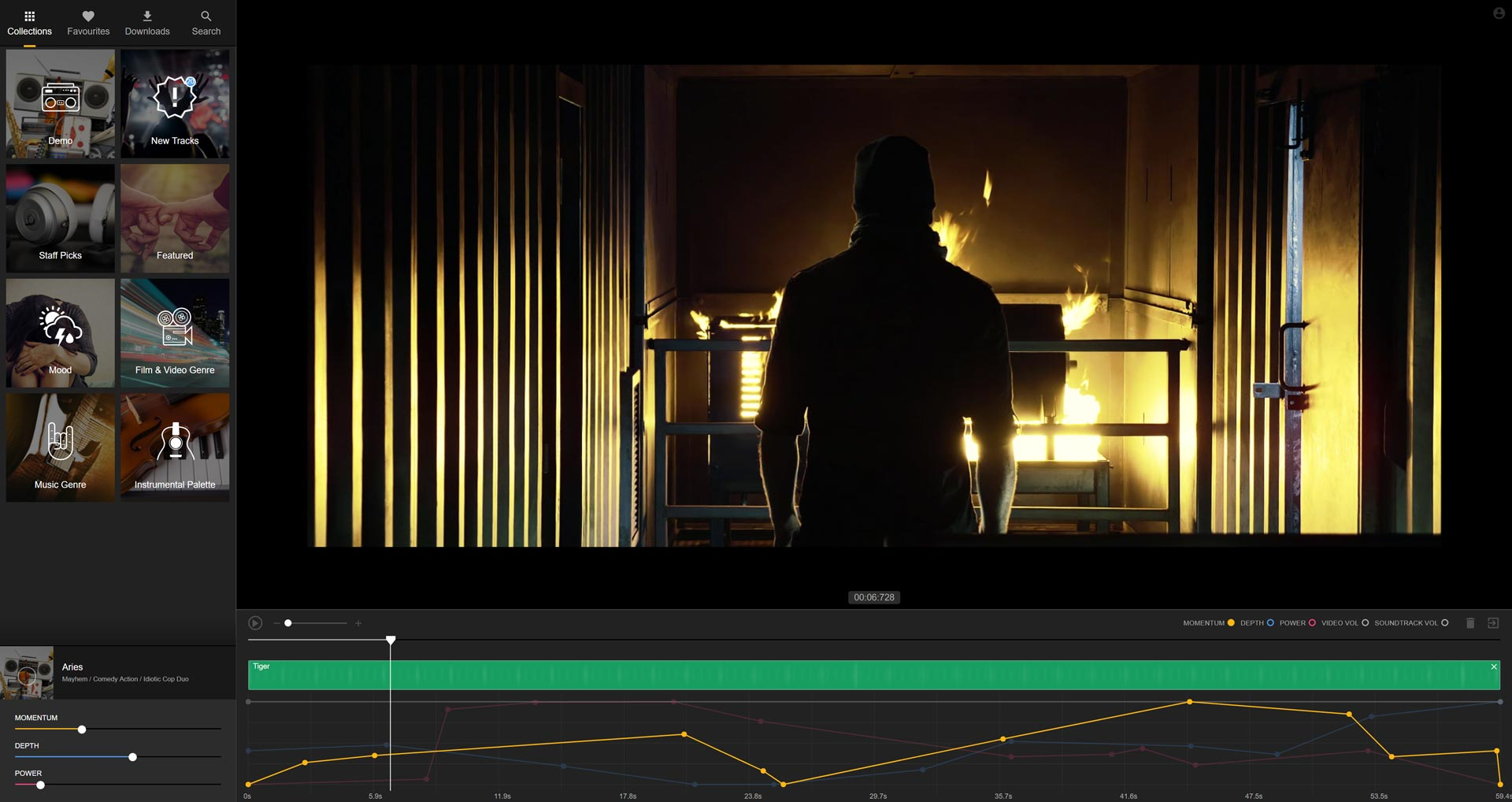 Interface of Filmstro while creating a custom soundtrack for an action film!