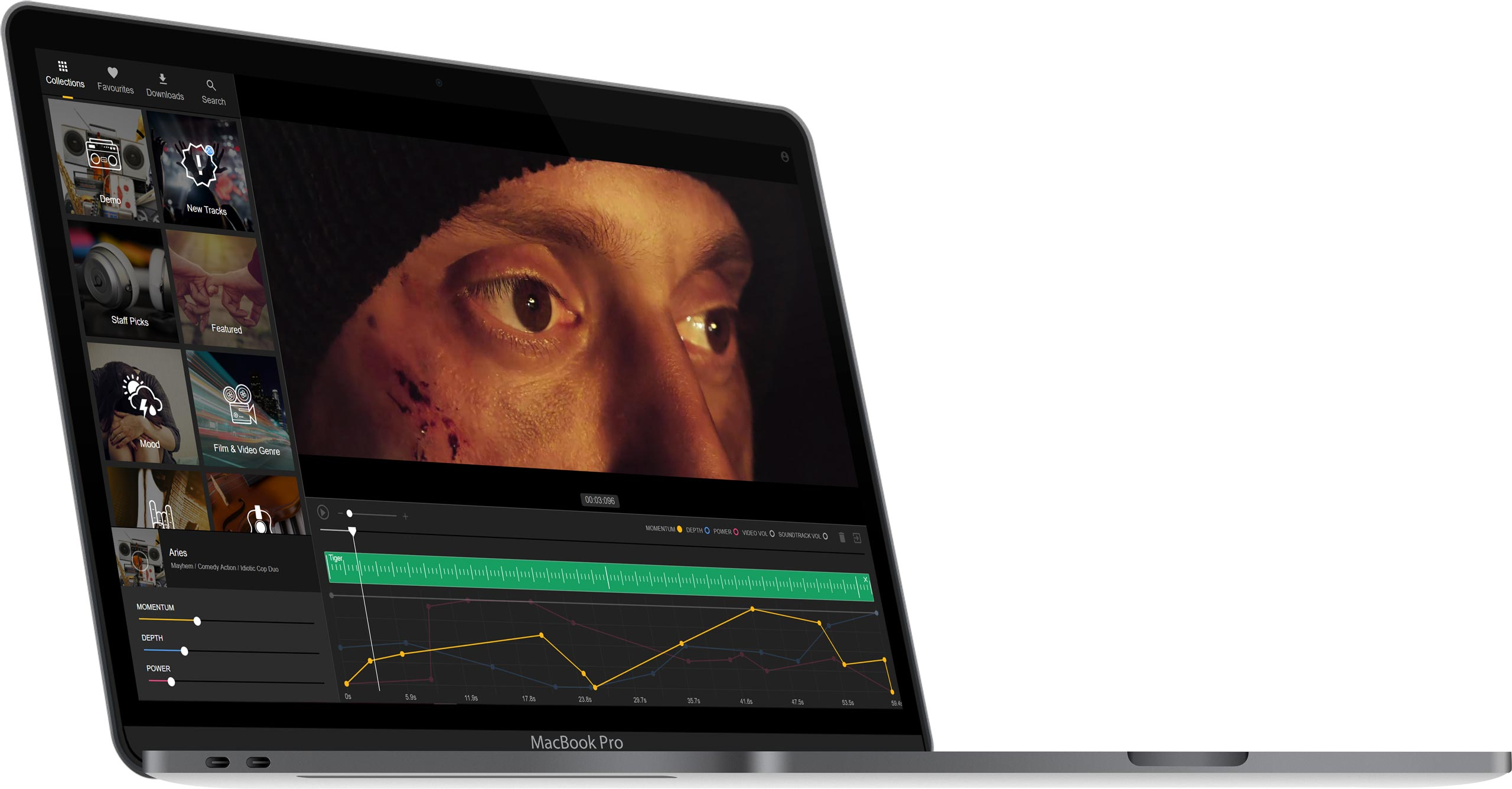 Filmstro interface on laptop with Oli Thompson close-up action movie