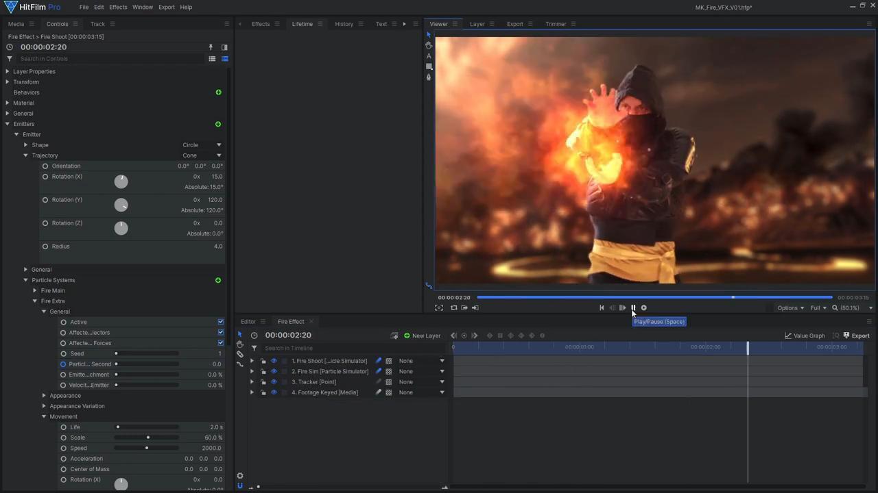 How to create Mortal Kombat's Scorpion fireball effects - creating a fire blast