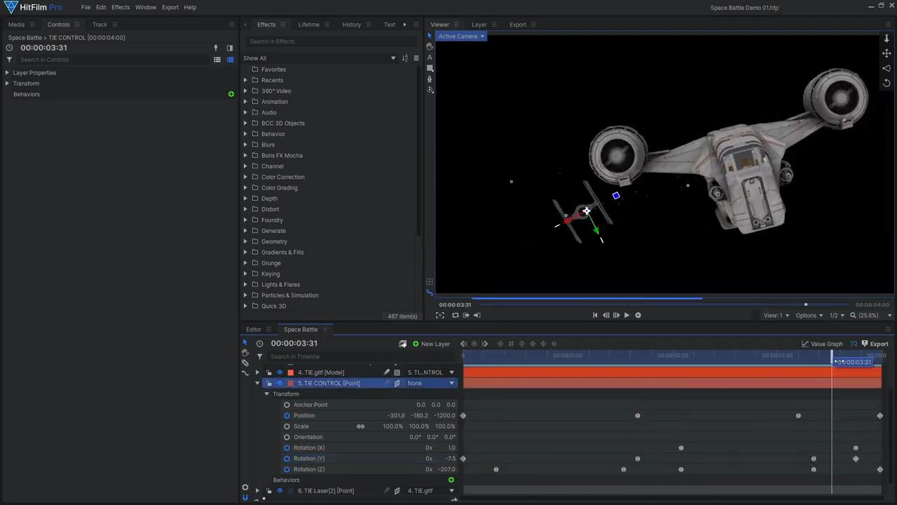 How to create Star Wars space battle VFX - Animating the models