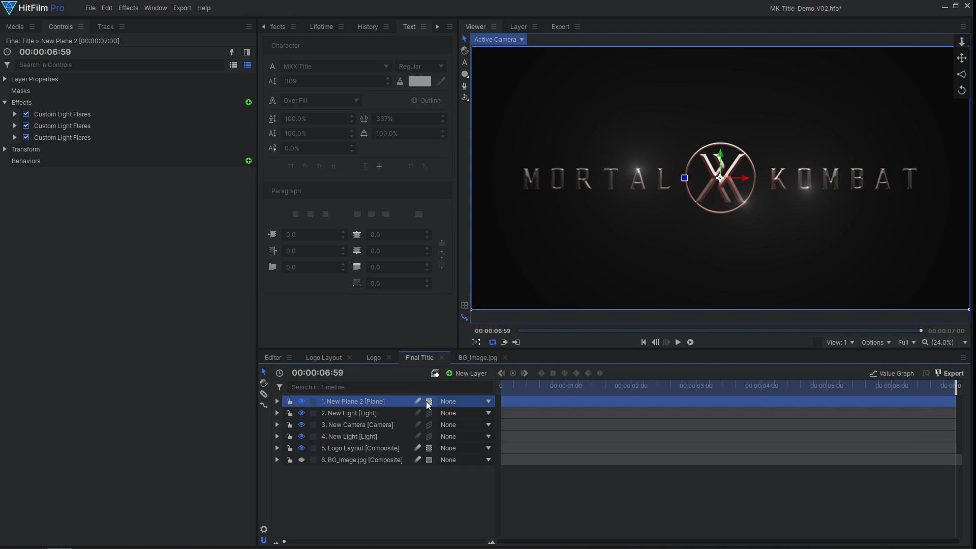 How to create a cinematic Mortal Kombat-style animated title - adding light flares