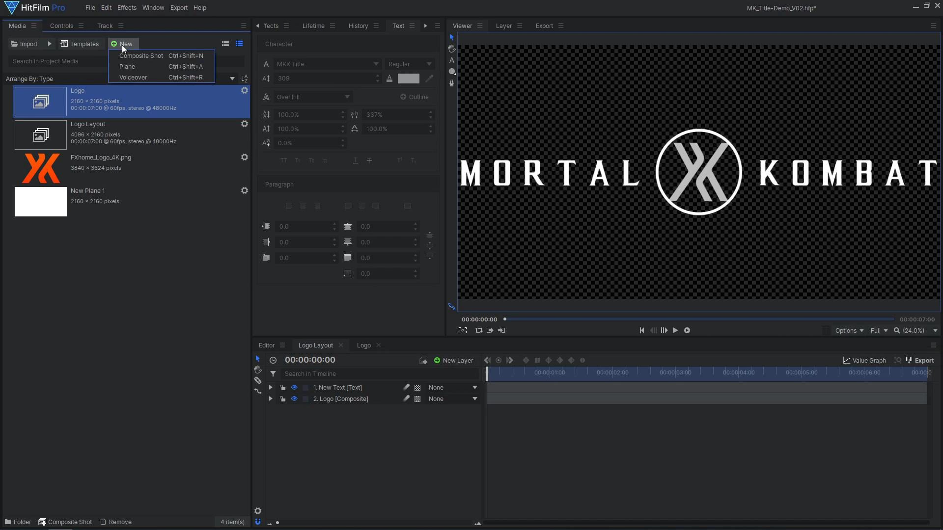 How to create a cinematic Mortal Kombat-style animated title - adding logo