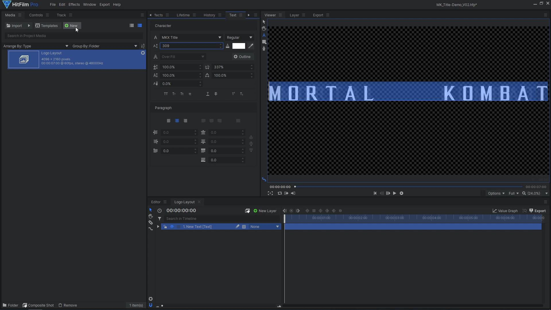 How to create a cinematic Mortal Kombat-style animated title - Text layout
