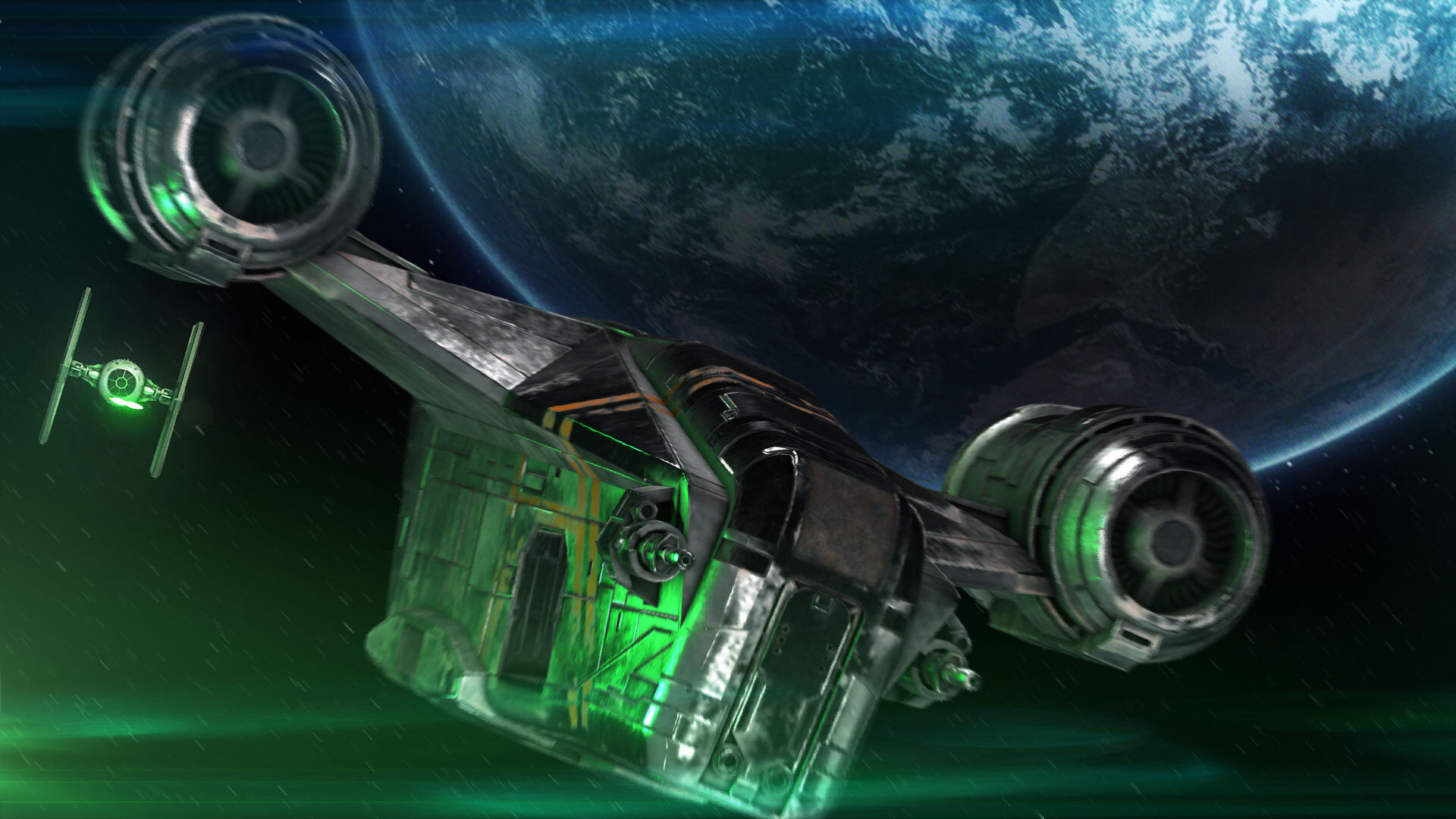 Razor Crest spaceship escaping Tie Fighter 3D VFX shot with Earth-like planet in the background