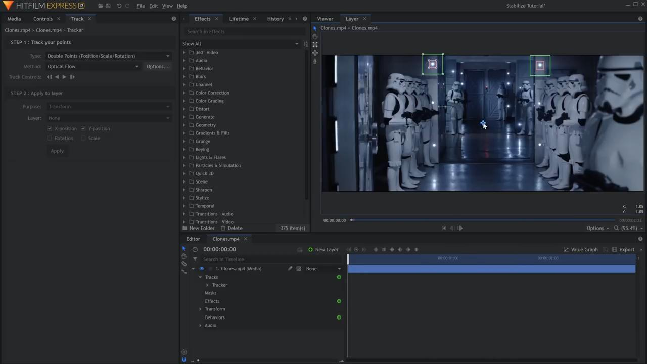 How to stabilize shaky footage in HitFilm Express - altering centre point position