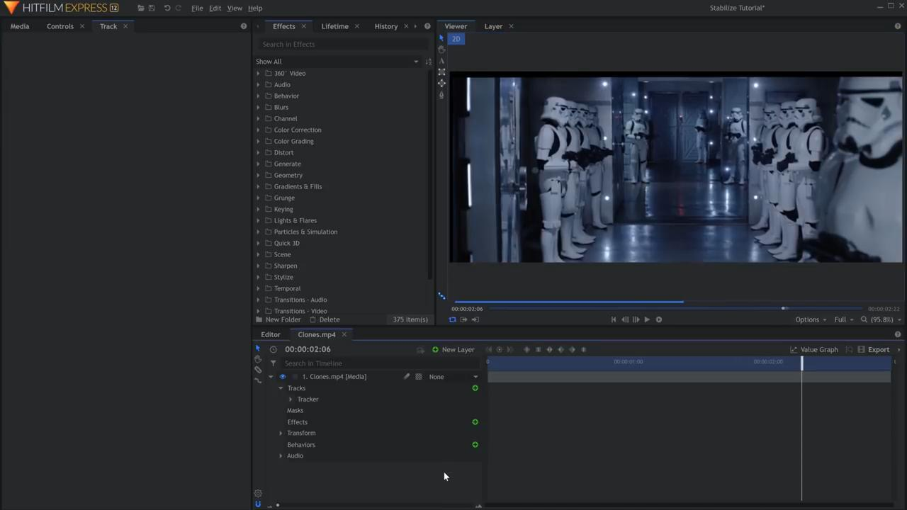 How to stabilize shaky footage in HitFilm Express - the resulting tracked footage