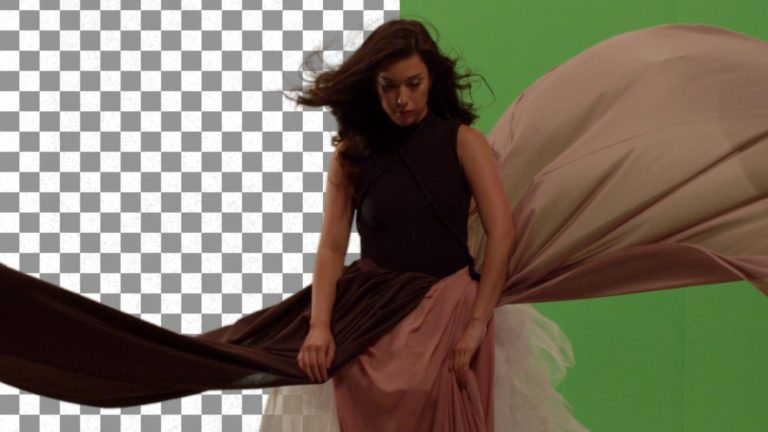 Keyed green screen footage of girl in long dress