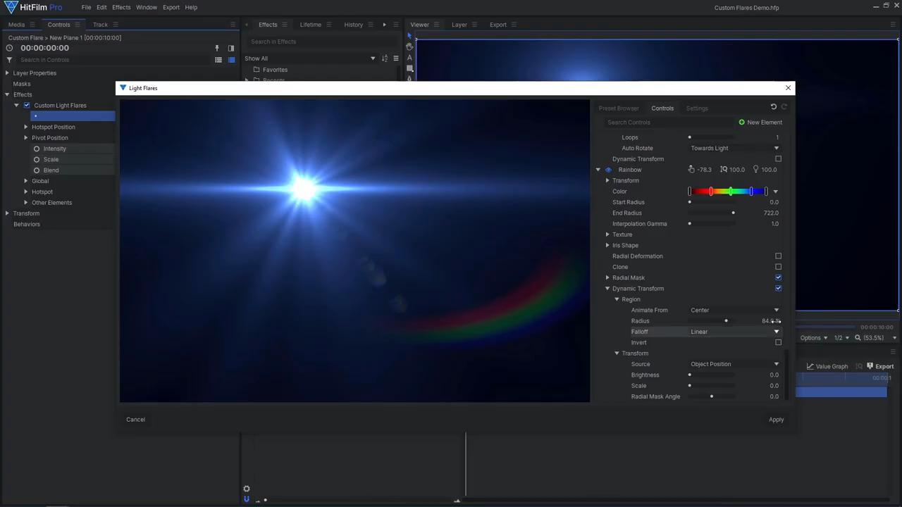 How to create custom lens flares in HitFilm Pro - light flare settings