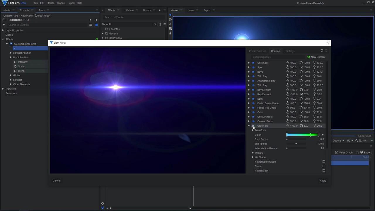 How to create custom lens flares in HitFilm Pro - custom light flare settings
