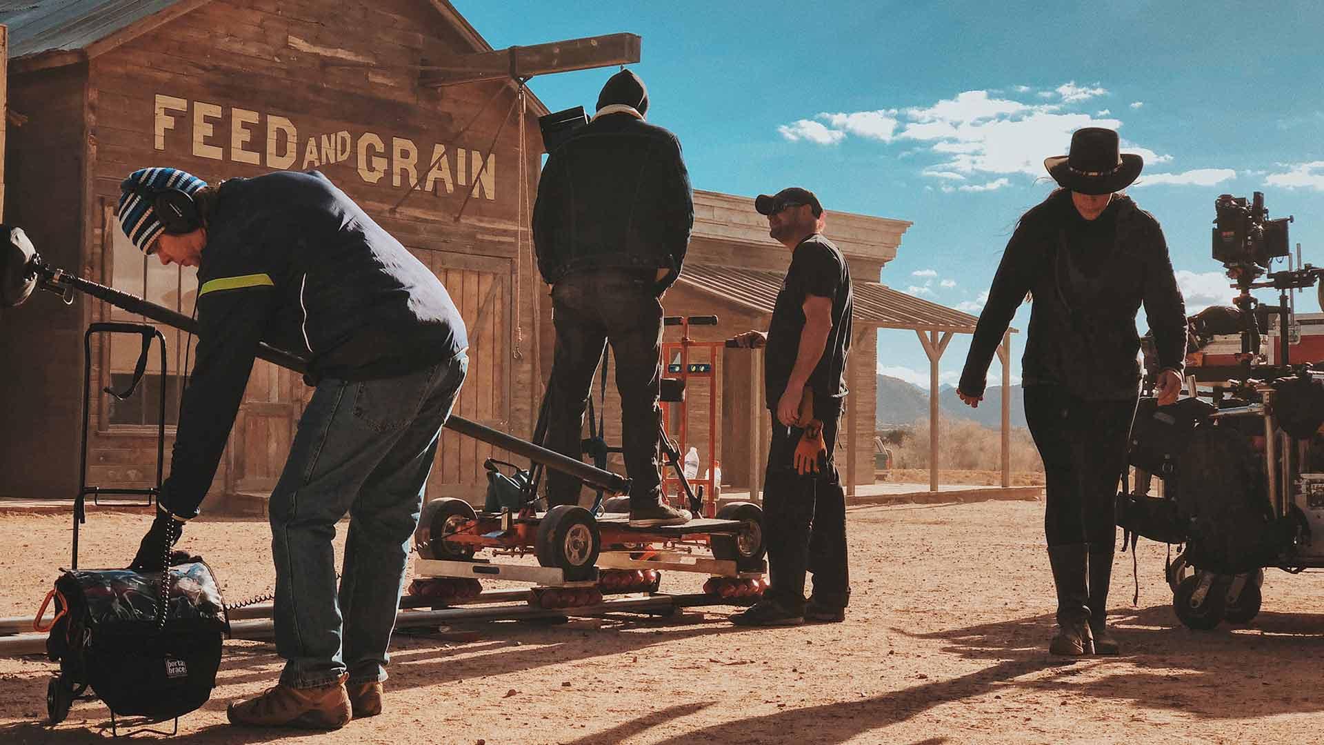 Film crew on set of western film