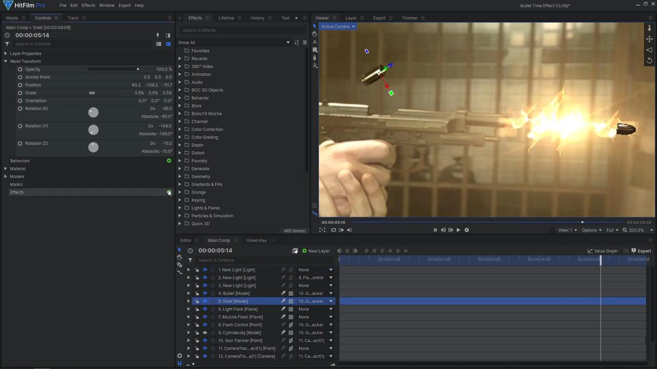 How to create a freeze time effect - adding bullet and bullet shell