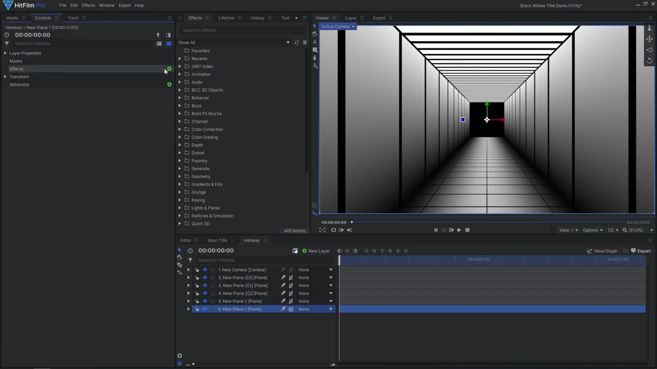 How to create an epic Black Widow inspired title sequence - creating the hallway using planes