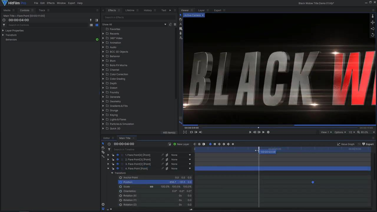 How to create an epic Black Widow inspired title sequence - adding light flares