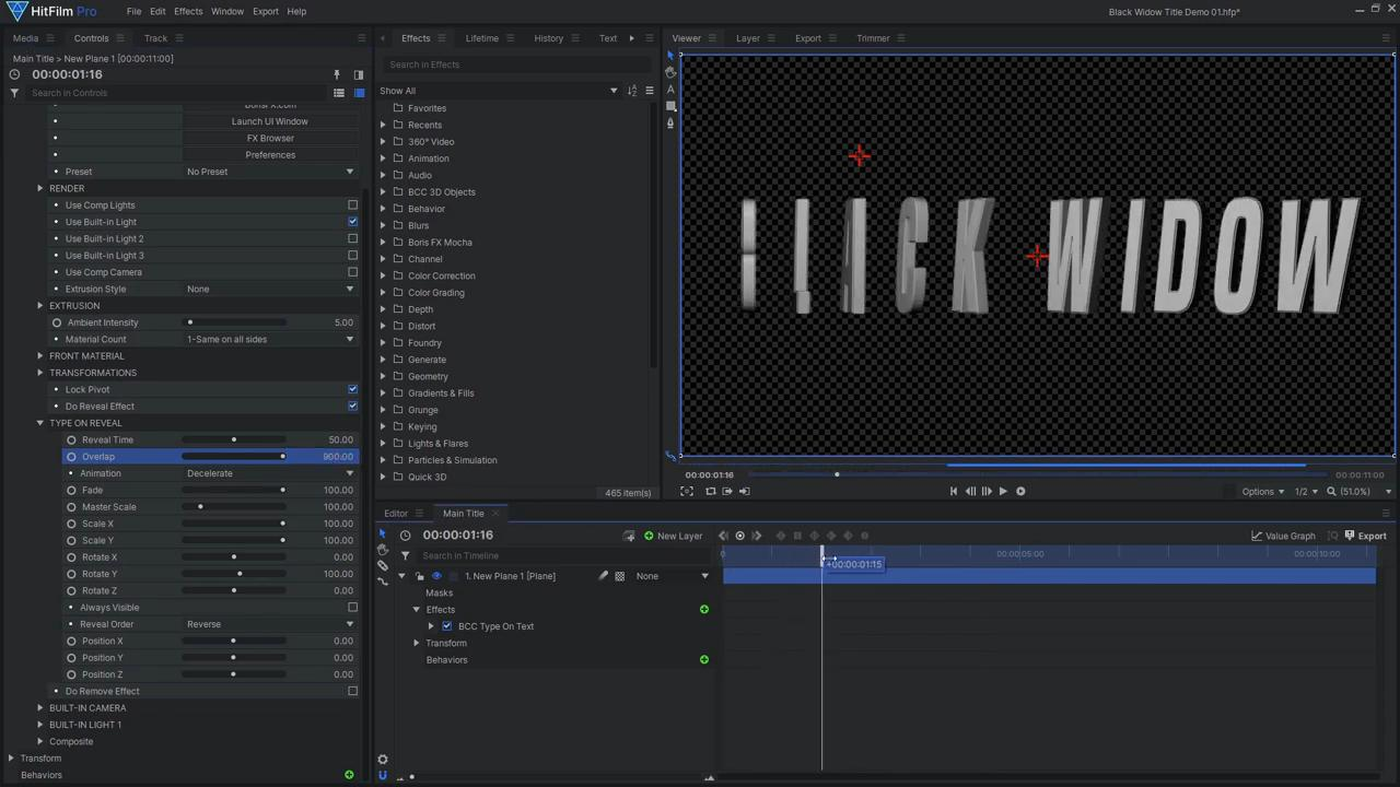 How to create an epic Black Widow inspired title sequence - creating the text using the BCC Type On Text effect