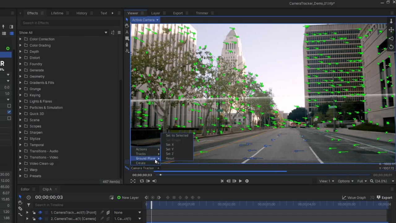How to use Foundry's 3D Camera Tracker in HitFilm - setting the floor plane