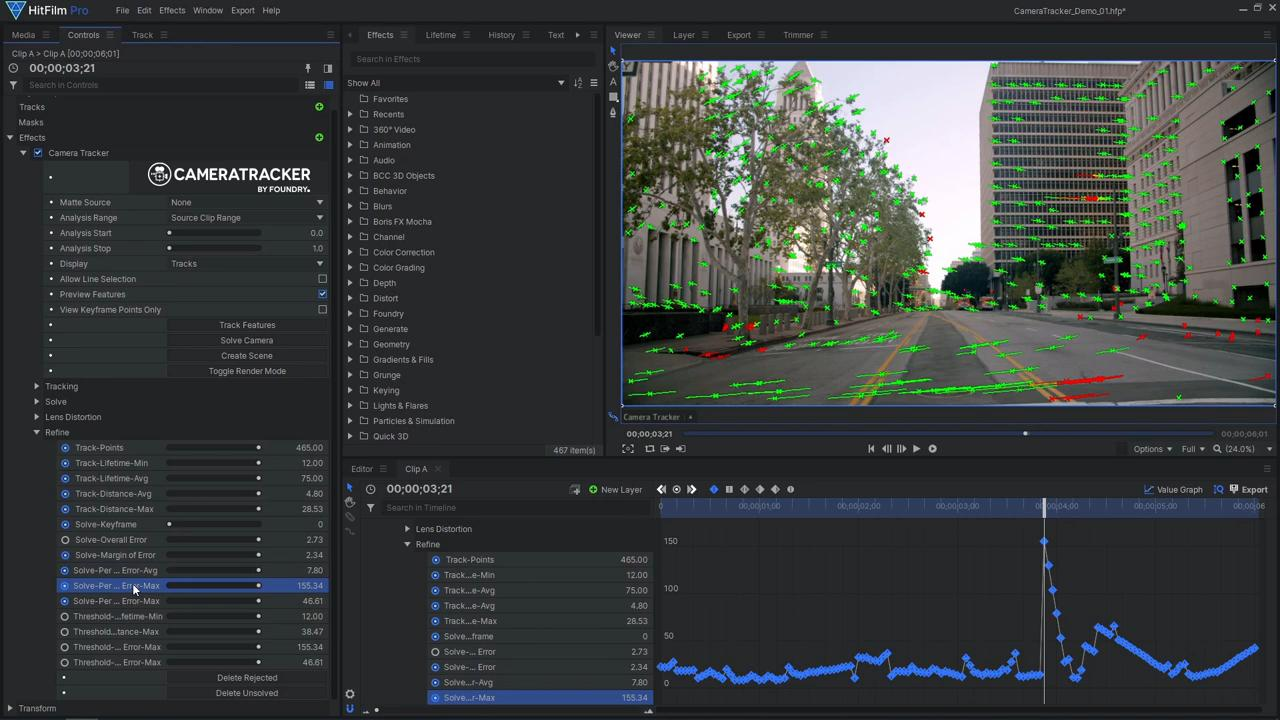 How to use Foundry's 3D Camera Tracker in HitFilm - refining the solve