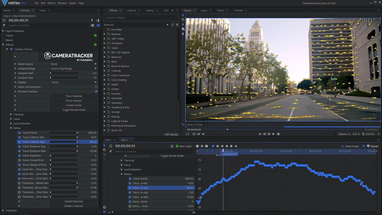 How to use Foundry's 3D Camera Tracker in HitFilm - Track-Lifetime-Avg