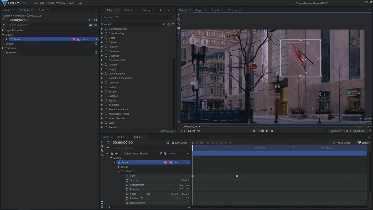 How to use Foundry's 3D Camera Tracker in HitFilm - creating a mask for a Matte