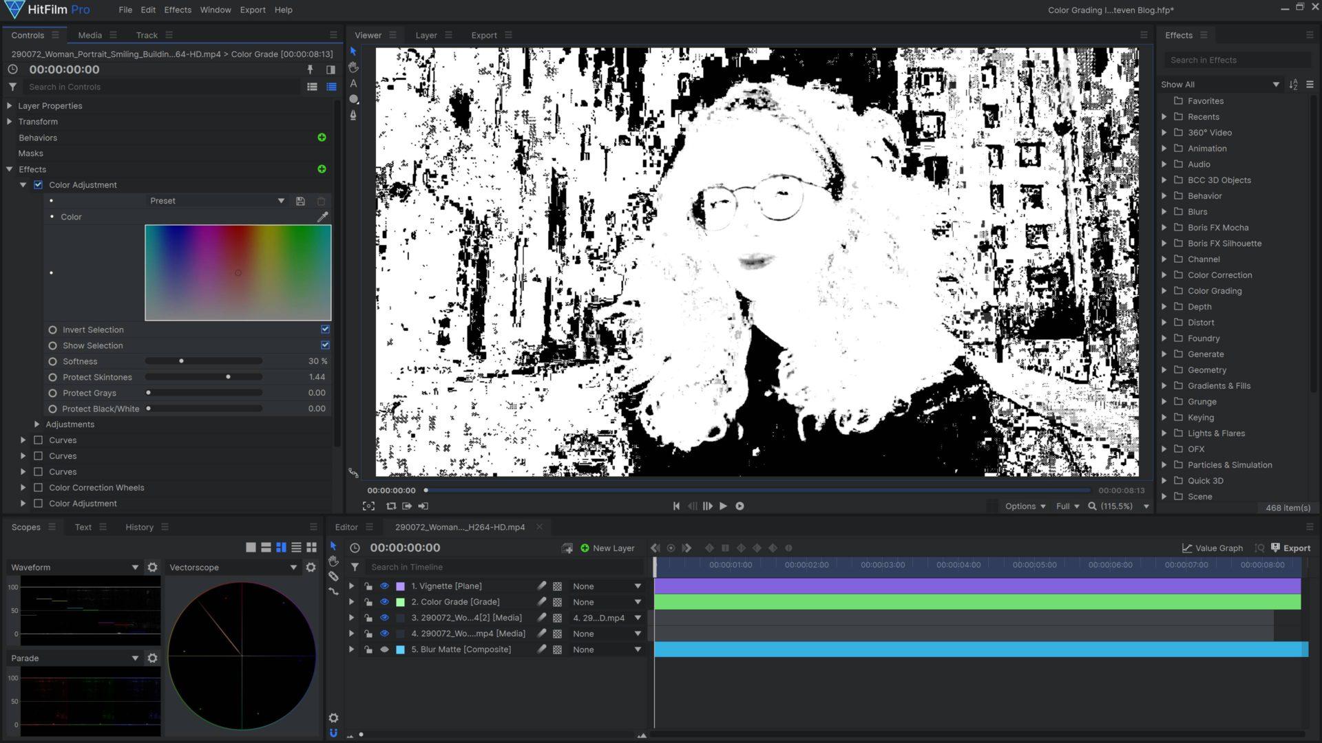 HitFilm color adjustment effect show mask