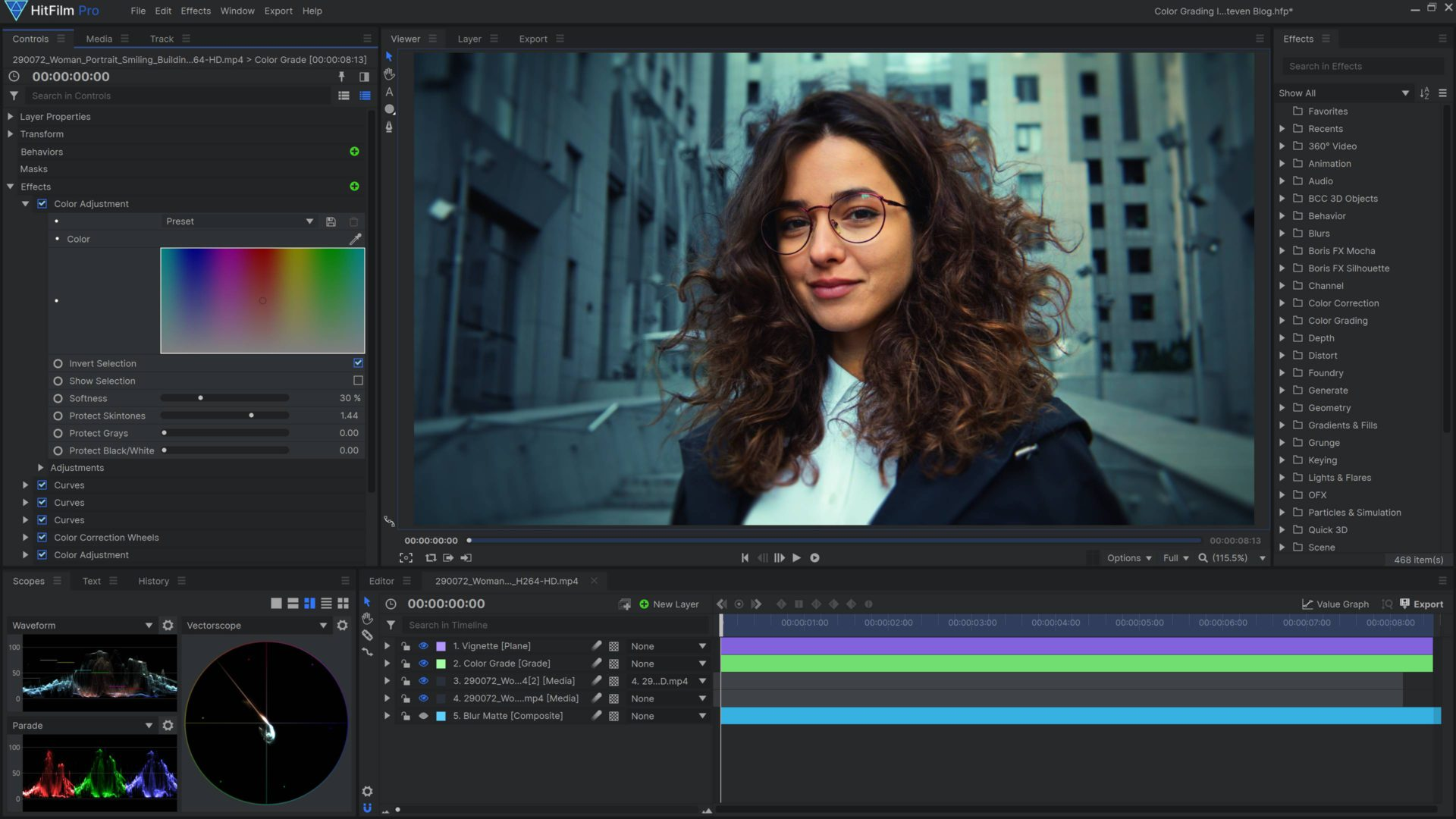 color correcting skin tones in HitFilm Pro with the color adjustment effect orange and teal color grade